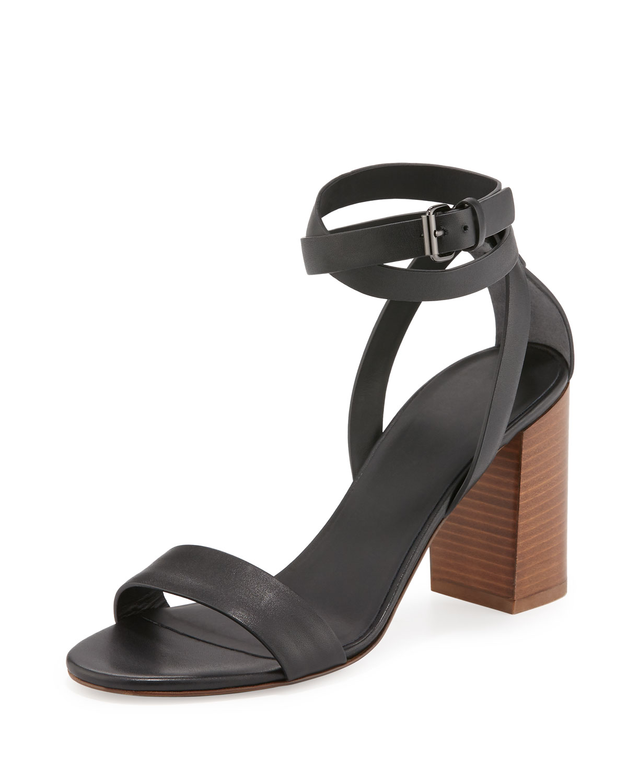 Farley Ankle-Wrap Block-Heel Sandal, Black, Women's, Size: 10B/40EU - Vince