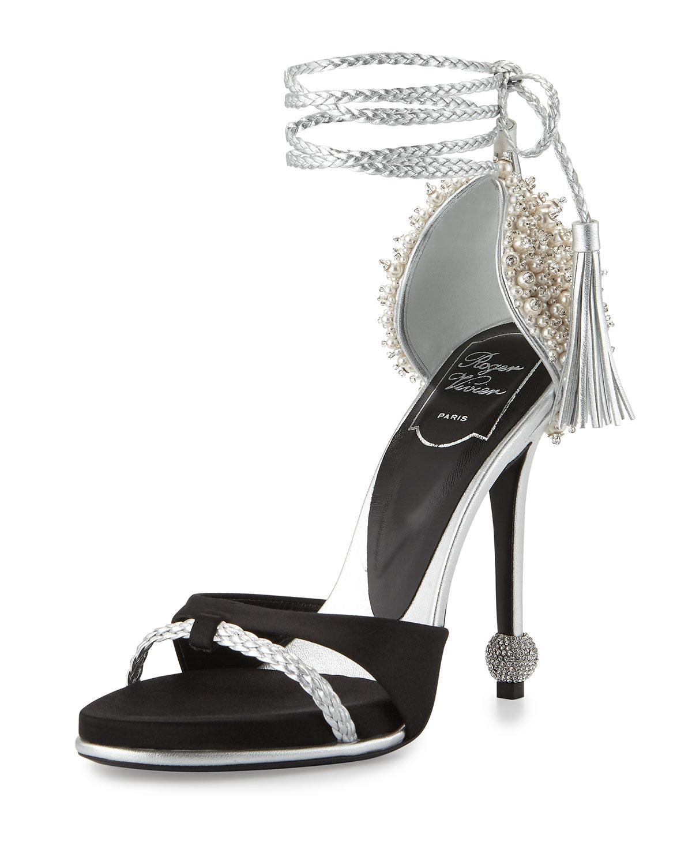 Lasso Pearly Ankle-Wrap Sandal, Black/Silver, Size: 36.5B/6.5B, Black/Slvr - Roger Vivier