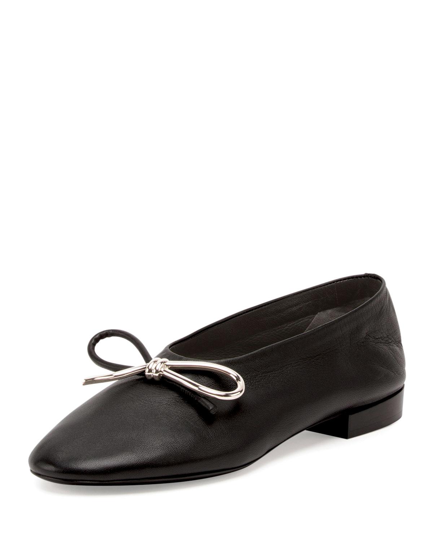 Leather Bow Ballerina Flat, Noir, Women's, Size: 10.5B/40.5EU - Balenciaga