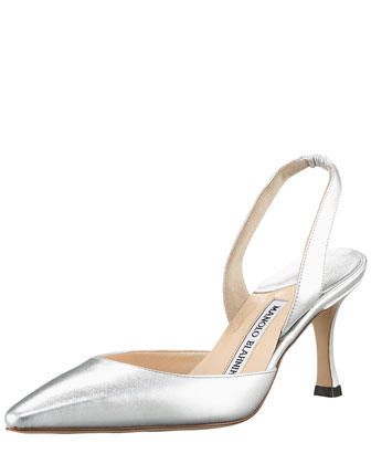 Napa Mid-Heel Halter, Metallic Silver