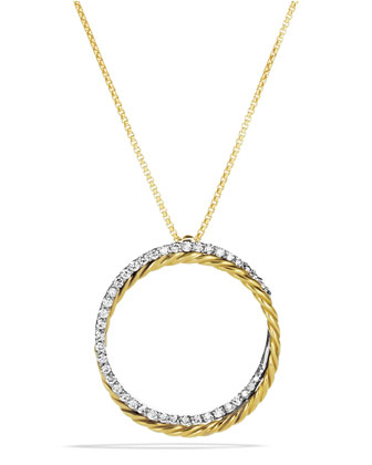 Crossover Pendant with Diamonds in Gold on Chain