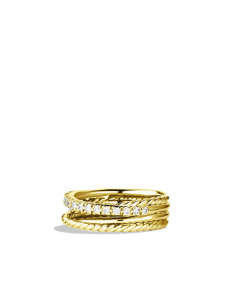 Crossover Ring with Diamonds in Gold