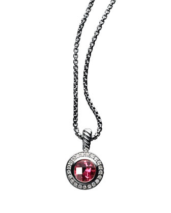 Petite Cerise Pendant with Pyrope Garnet and Diamonds on Chain