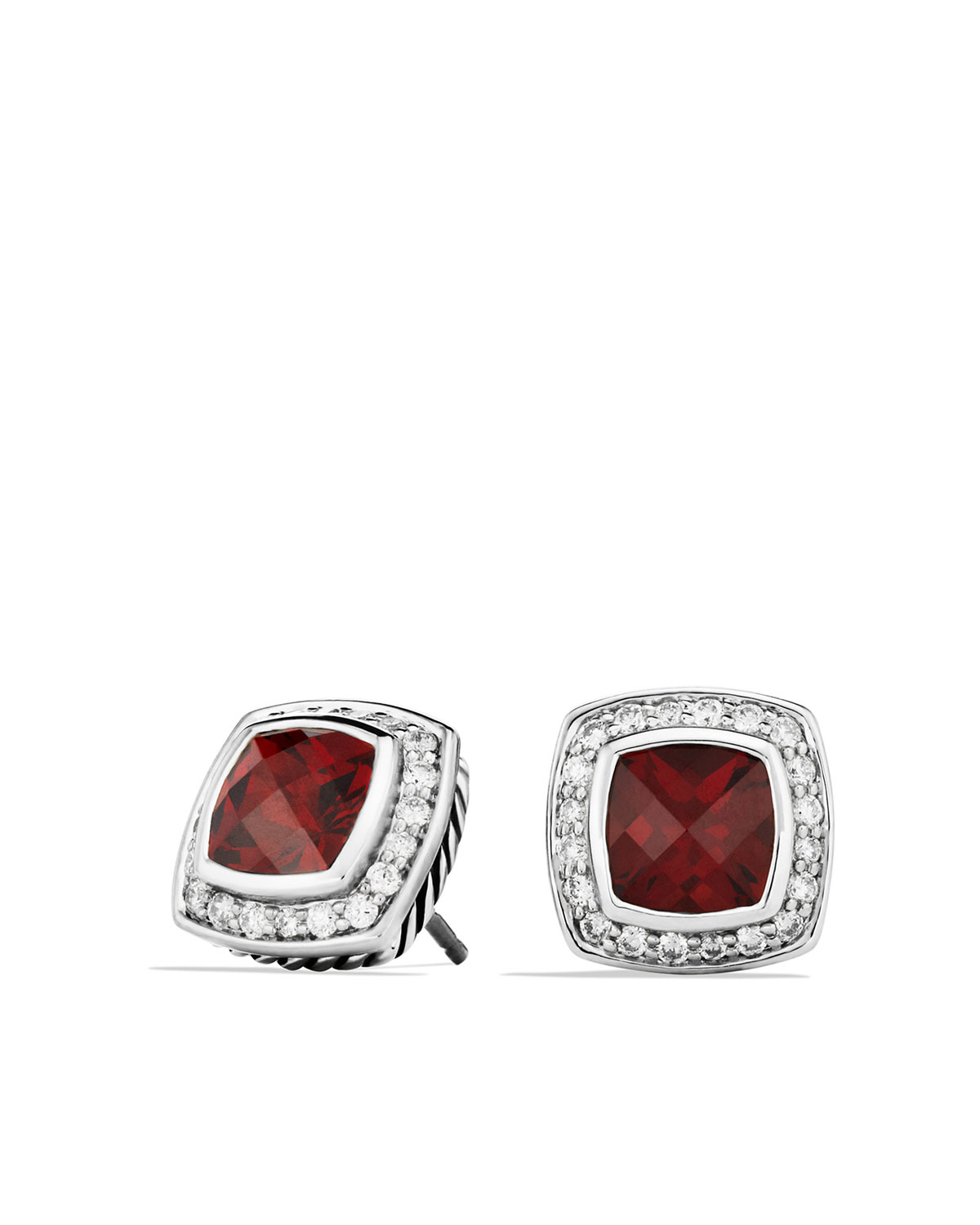 Petite Albion Earrings with Pyrope Garnet and Diamonds