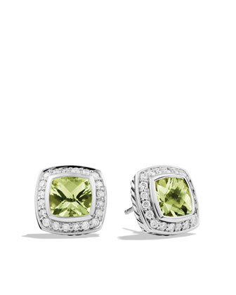 Petite Albion Earrings with Prasiolite and Diamonds
