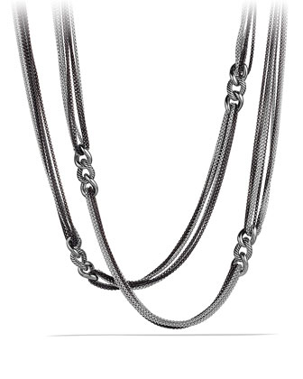 Curb Link Eight-Row Black and White Necklace