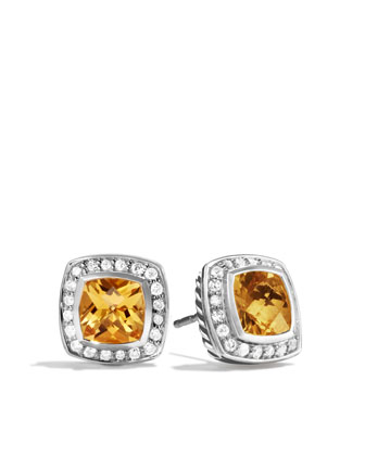 Petite Albion Earrings with Citrine and Diamonds