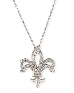 Roberto Coin Fleur-de-lis Diamond Pendant Necklace