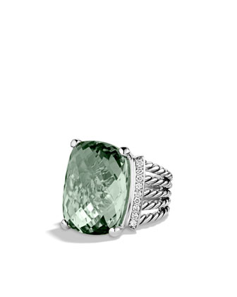 Wheaton Ring with Prasiolite and Diamonds