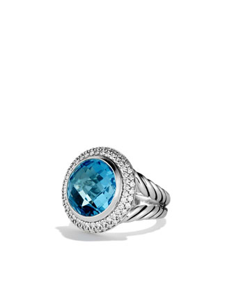 Cerise Ring with Blue Topaz and Diamonds