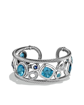 Mosaic Cuff with Blue Topaz, Iolite, and Diamonds