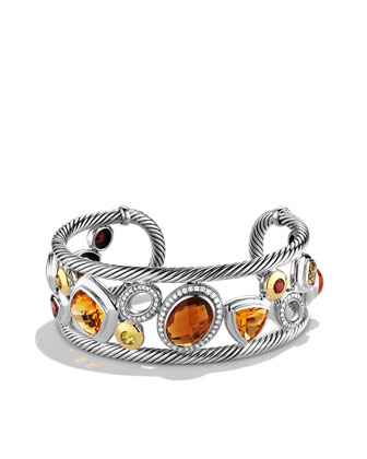 Mosaic Cuff with Citrine, Diamonds, and Gold