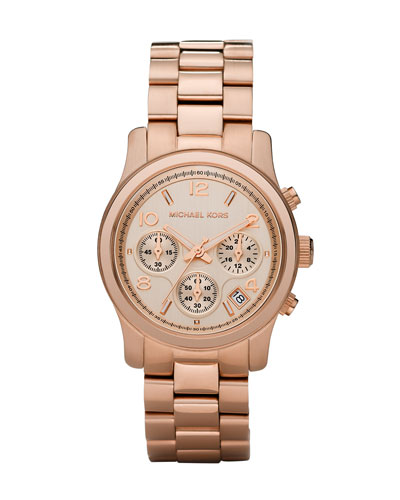 Michael Kors  Rose Golden Runway Chronograph Watch