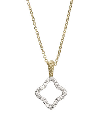 Cable Collectibles Quatrefoil Pendant with Diamonds in Gold on Chain