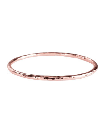 Rose Skinny Hammered Bangle, Pink