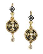 Cross Button-Drop Earrings