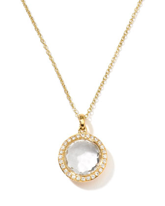 18k Gold Rock Candy Mini Lollipop Diamond Necklace in Clear Quartz