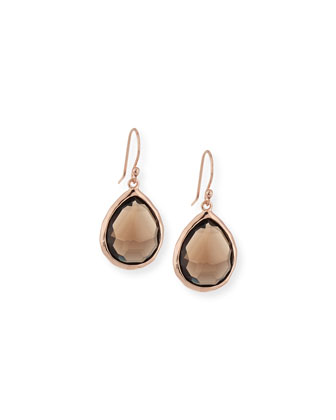 Rose Teardrop Earrings, Smoky Quartz