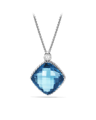 Cushion on Point Pendant with Hampton Blue Topaz and Diamonds on Chain ...