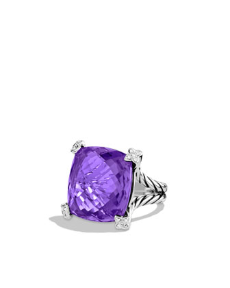 Cushion On Point Ring with Amethyst and Diamonds
