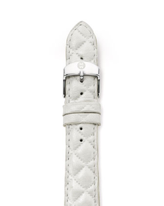 16mm Quilted Strap, White