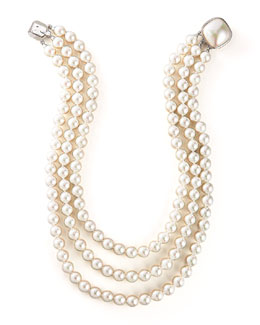 Majorica Three-Strand Pearl Necklace