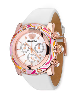 Glam Rock 46mm Smalto Chronograph Watch, Pink