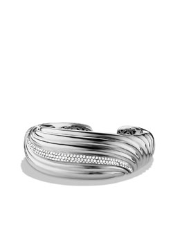 David Yurman Sculpted Cable Bracelet, Pave Diamond, 25mm