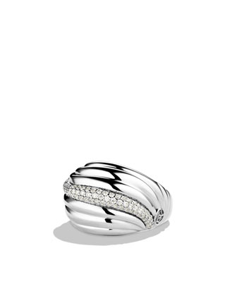 Sculpted Cable Dome Ring with Diamonds
