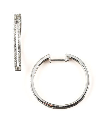 Diamond Hoop Earrings. 14k White Gold