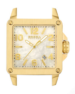 Brera Stella Brushed 18k Yellow Gold IP Watch Head