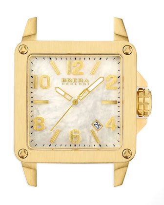 Stella Brushed yellow Gold case with Mop Dial on Gold Metallic
