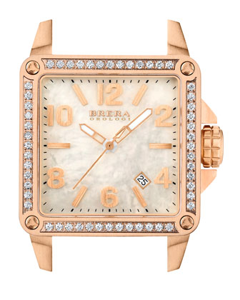 Stella Diamond Rose Gold with MOP Dial on White Rubber