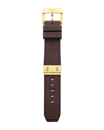 Isabella Diamond Gold Timepiece & Brown Rubber Strap