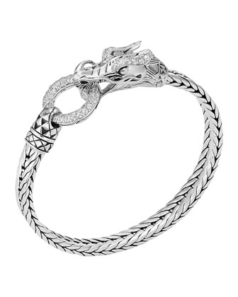 Naga Head Bracelet, White Topaz