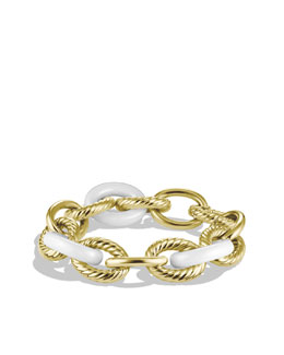David Yurman X-Large Oval Link Bracelet, White Ceramic