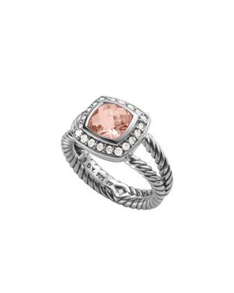 Petite Albion Ring with Morganite and Diamonds