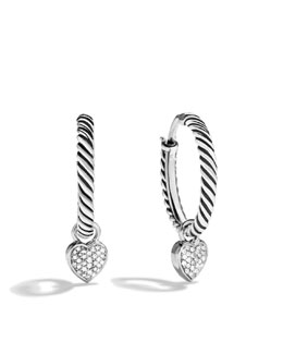 David Yurman Cable Heart Hoop Earrings, Pave Diamond