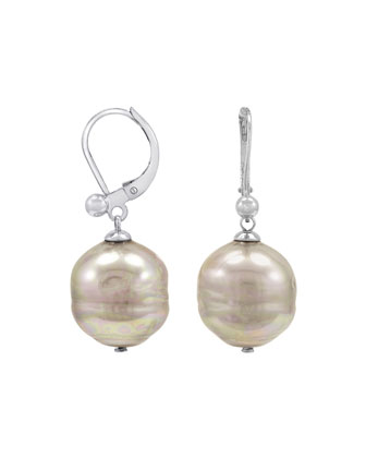 Baroque Pearl Earrings, White