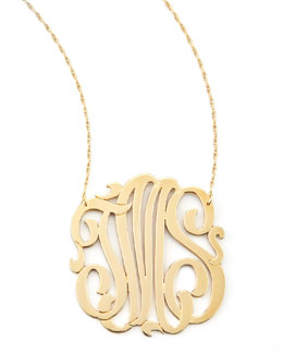 Jennifer Zeuner Three-Initial Pendant Necklace