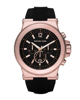 Michael Kors  Oversized Dylan Silicone Chronograph Watch, Black