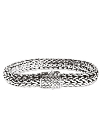 Classic Chain 11mm Large Braided Silver Bracelet
