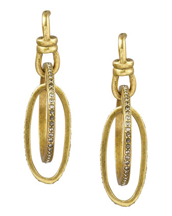 Pave Oval Hoop Earrings