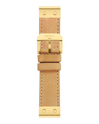 Leather Watch Strap, Yellow Gold