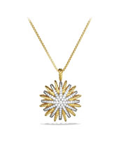 Starburst Large Pendant with Diamonds in Gold on Chain