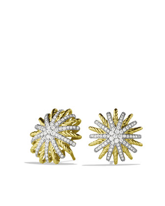 Starburst Small Earrings with Diamonds in Gold