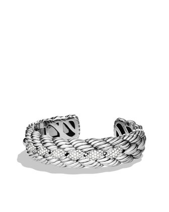 Woven Cable Narrow Cuff with Diamonds