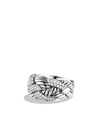 Woven Cable Ring with Diamonds