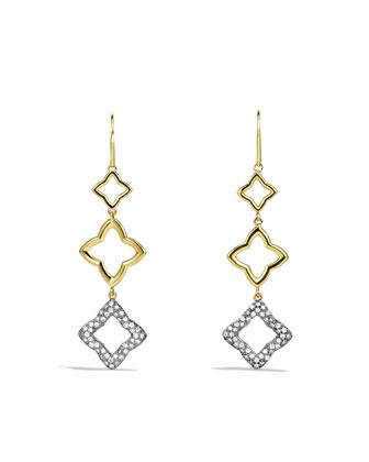 Quatr??foil Triple-Drop Earrings with Diamonds in Gold