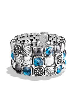 David Yurman Chiclet Bracelet, Blue Topaz, 3 Rows